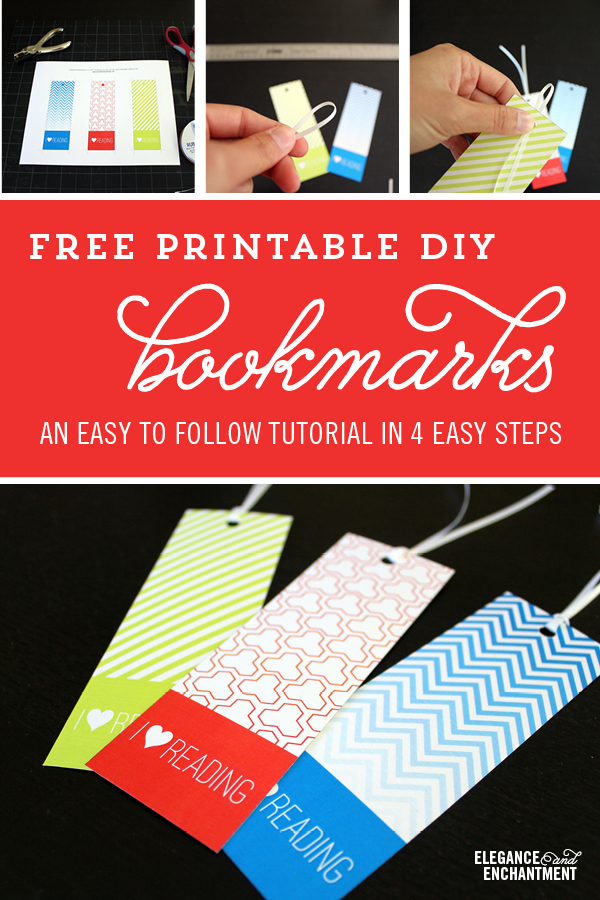 An easy tutorial on creating bookmarks that make reading even more fun! This makes a great summer DIY project for kids. Free printable design in three different patterns from Elegance & Enchantment.