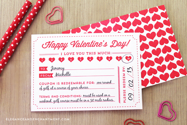 Free Printable Valentine S Day Coupons From Elegance Enchantment Includes Optional Backer