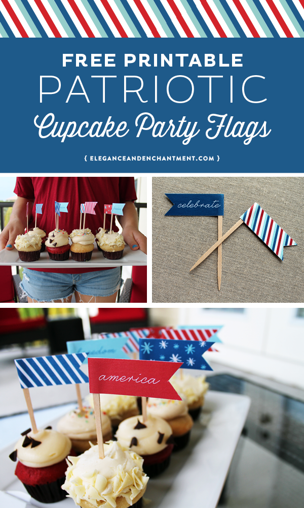Free Printable Patriotic Cupcake Flags // Perfect for July 4th parties and celebrations, Memorial Day, Labor Day and more! Designs by Elegance & Enchantment