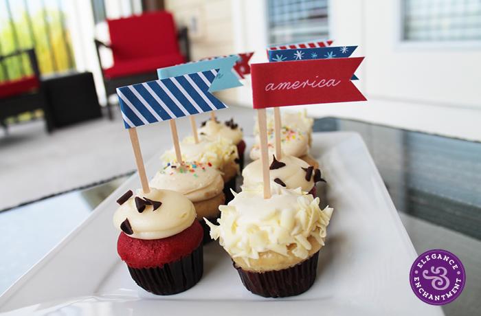Patriotic Cupcake Flags