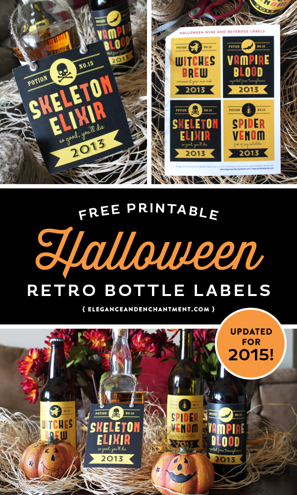 Free Retro-Styled Halloween printable labels for beer, wine and soda pop bottles. Download and print for a fun and spooky Halloween Party! Designs from Elegance and Enchantment.