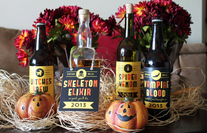 Free Retro Styled Halloween Printable Labels For Beer, Wine And Soda Pop  Bottles.