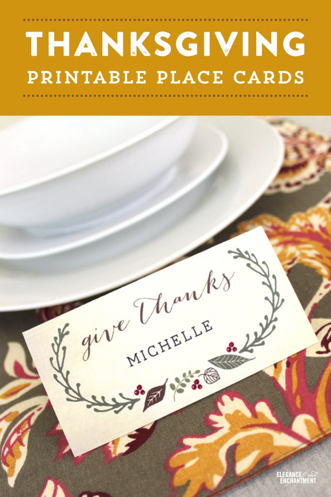 Free Printable DIY Thanksgiving Place Cards from
