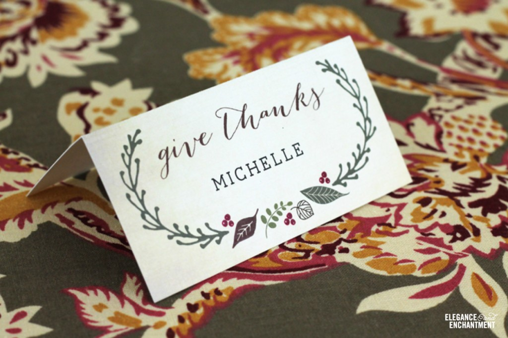 Free Printable DIY Thanksgiving Place Cards from Elegance & Enchantment