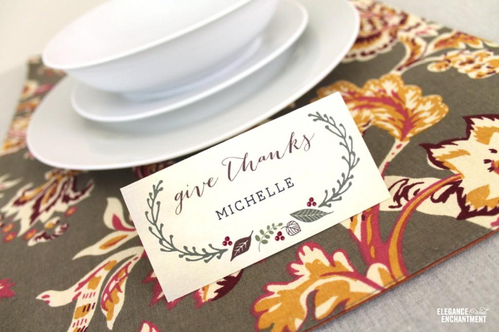 free printable diy thanksgiving place cards from elegance enchantment - Thanksgiving Place Cards