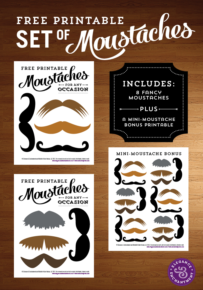 Elegance and Enchantment Printable Moustaches