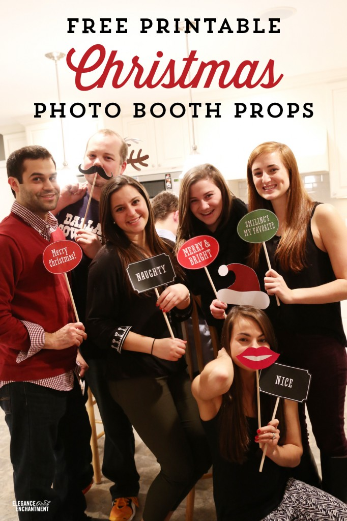 christmas photo booth signs and props free printable from elegance enchantment