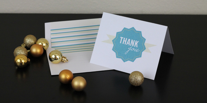 Printable Thank You Card and Liner
