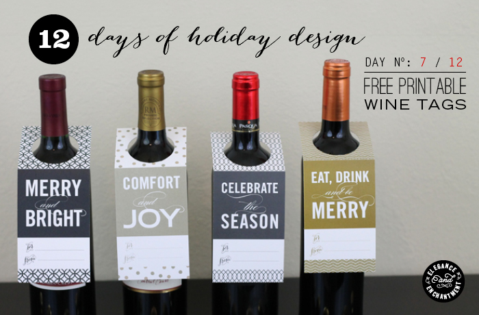 Wedding Gift Wine Tags Printable : 12 Days of Holiday Design: Day 7 Wine Tags