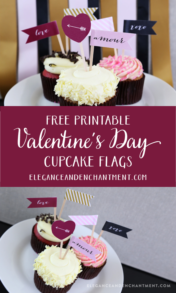 Free Printable Valentine's Day Cupcake Flags from Elegance & Enchantment // These would also be great drink or appetizer flags!