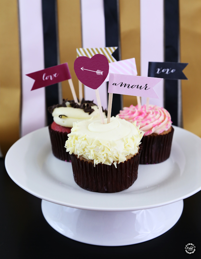 Elegance and Enchantment Valentine's Day Cupcake Flags