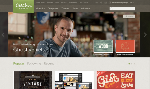 Creative Market Home Page