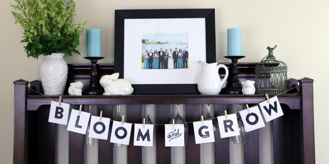 Simple Spring Mantel and Banner Printable