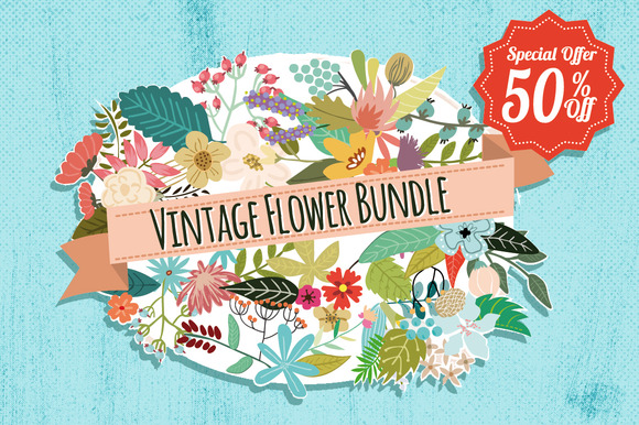 Vintage Flower Bundle from Creative Market