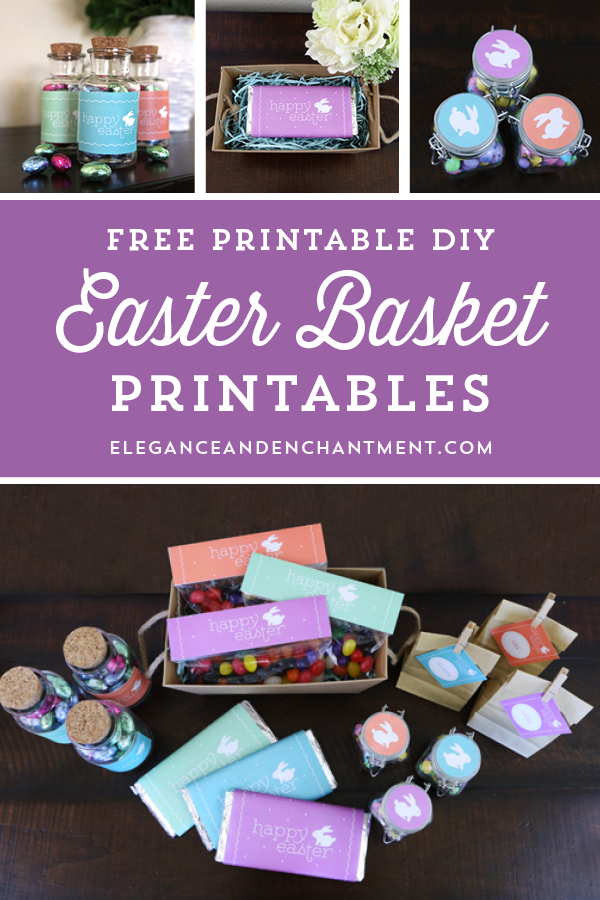 Free Printable Easter Basket Printables - includes candy bar wrappers, treat bag toppers, stickers, gift tags and labels! // Designs from Elegance & Enchantment