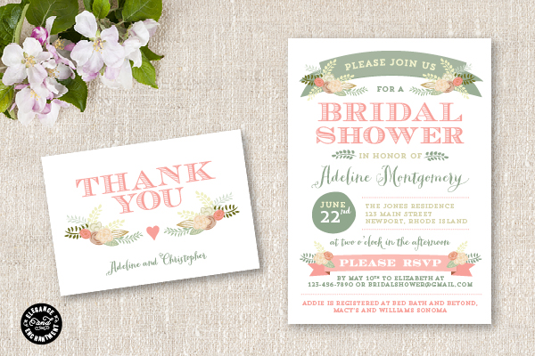 photo relating to Free Printable Wedding Shower Invitations titled Fresh new Bridal Shower Invitation Suite - Flora