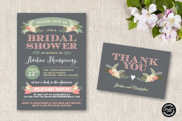 New bridal shower invitation suite flora for Bridal shower email invitations