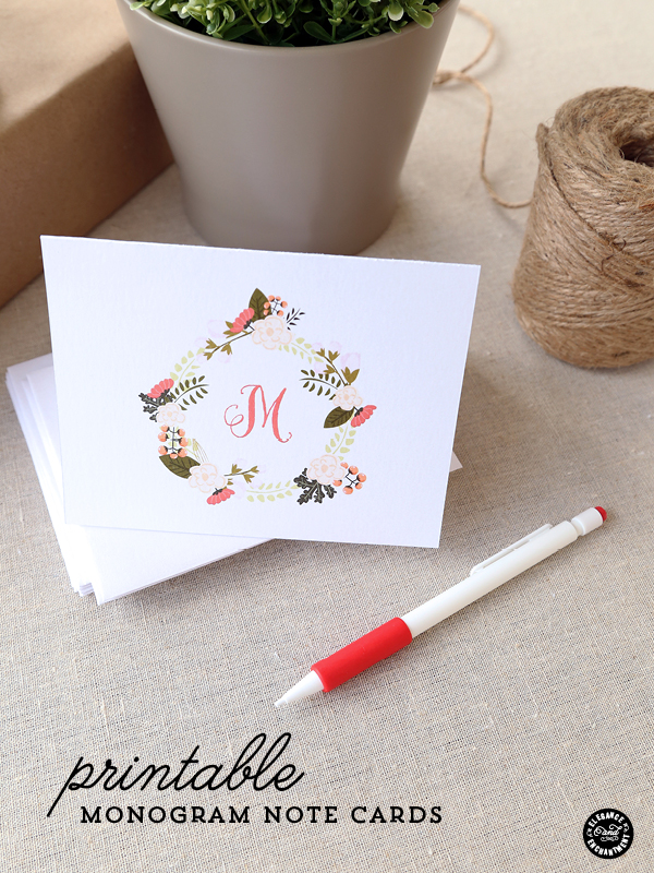 graphic regarding Free Printable Monogram known as Free of charge Printable Monogram Notecards