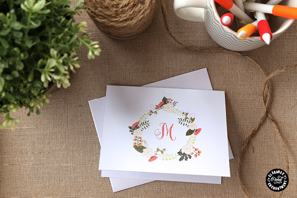 photo about Free Printable Monogram called No cost Printable Monogram Notecards
