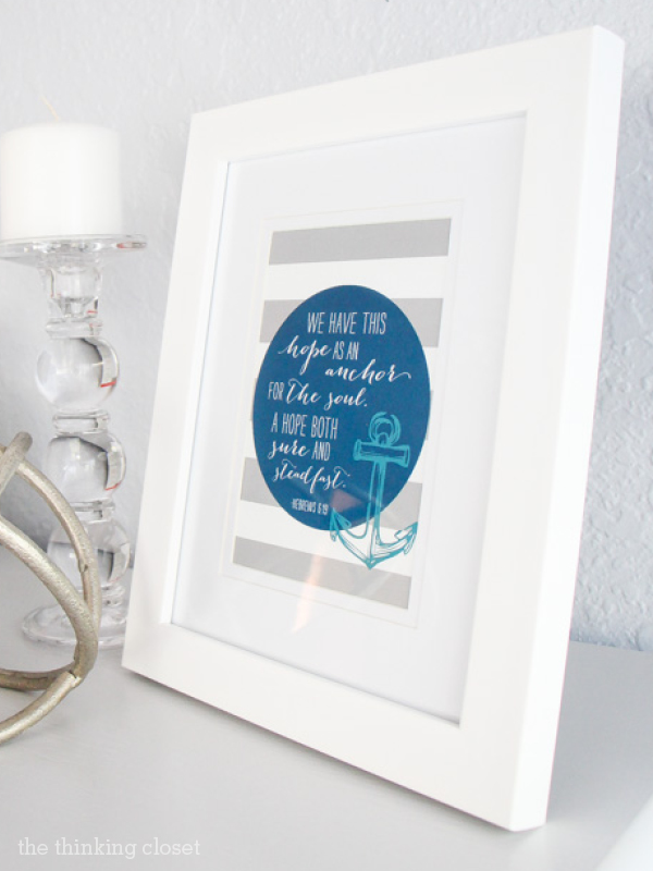 Hebrews 6:19 Printable from Elegance & Enchantment and The Thinking Closet