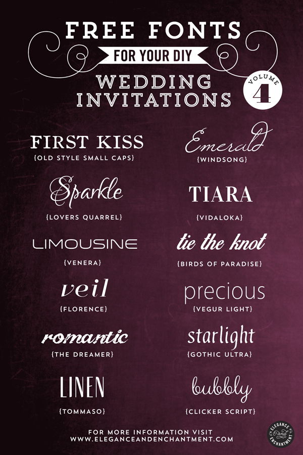 Free Fonts for DIY Wedding Invitations Volume 4