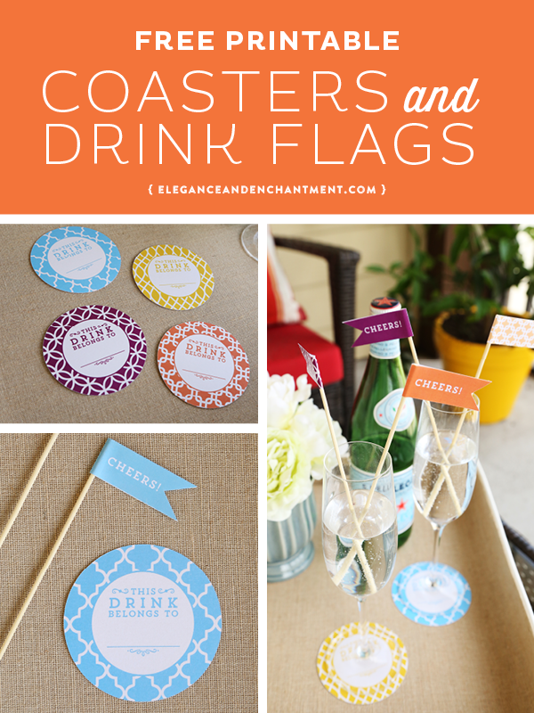 Add some style to your summer parties! Download these free printable coasters and drink flags for an easy DIY that will bring a smile to your guests faces. Four different colors are included! Design from Elegance & Enchantment.