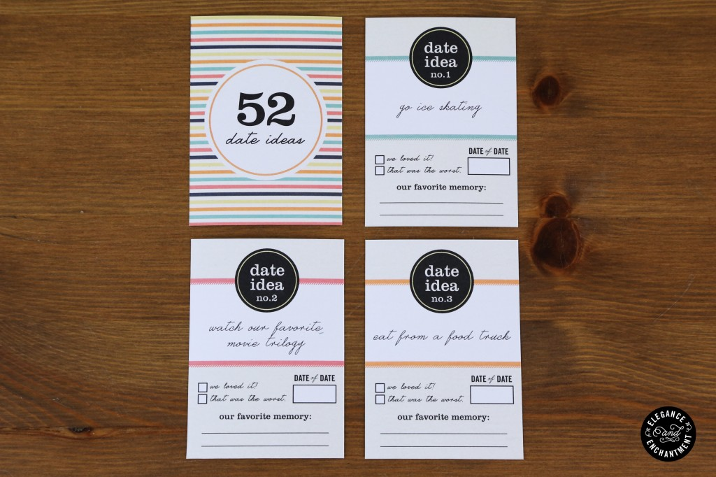 52 Date Idea Card Printable from Elegance and Enchantment