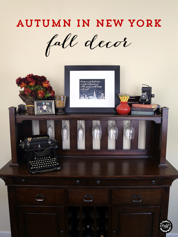 Autumn in NY Fall Decor/Vintage styled display + a free NYC printable quote from F.Scott Fitzgerald /// Design by Elegance and Enchantment