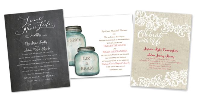 Ann's Bridal Bargains Rustic Invitations