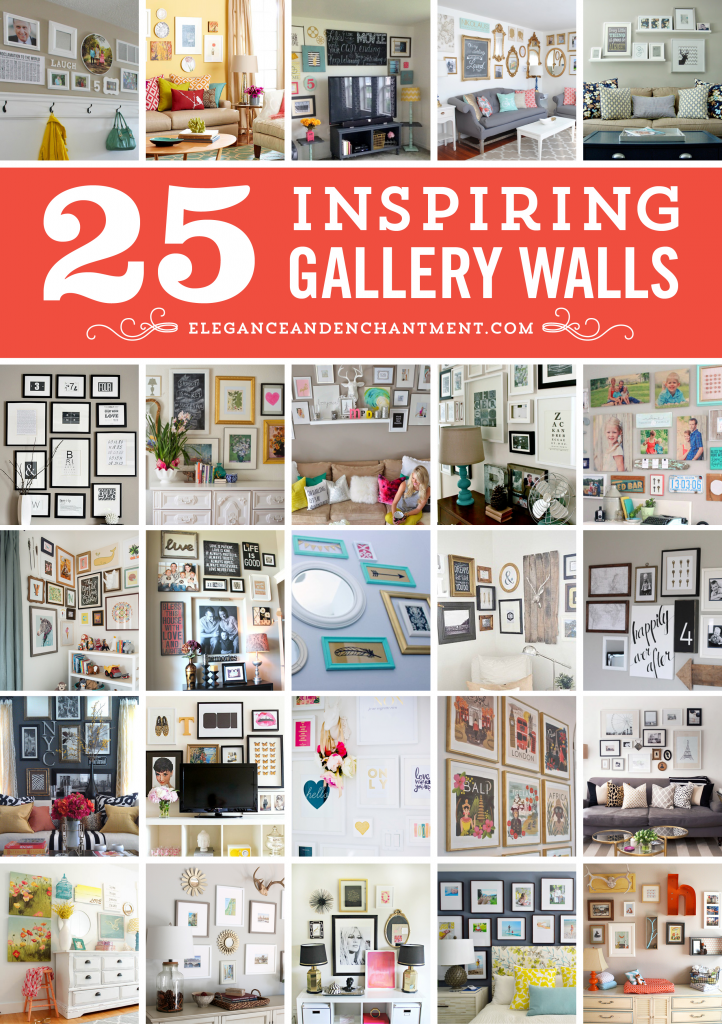 25 Inspiring Gallery Walls for your home office, bedroom, great room, family room kids room, or nursery. Tons of home decor ideas and frame layouts! From Elegance and Enchantment