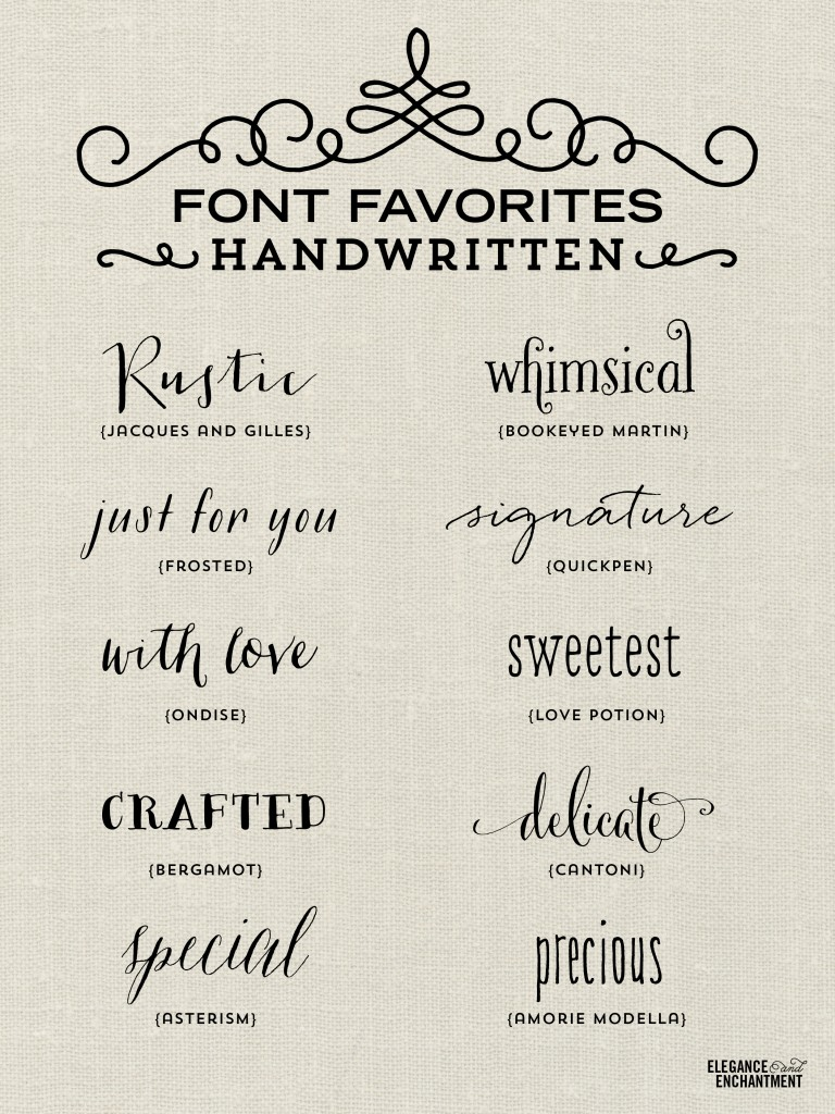 Handwritten Fonts for typography lovers. Use these for graphic design projects, blogging, DIY projects, stationery, wedding invitations and more!