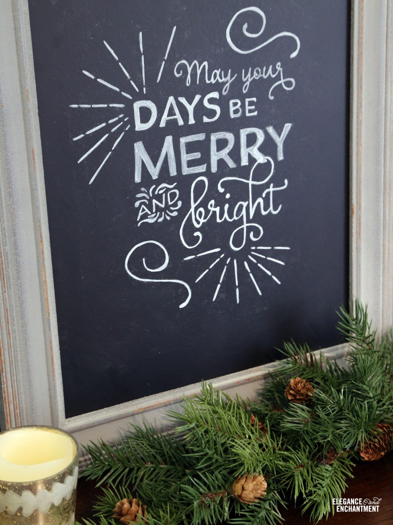 Chalkboard art lettering tutorial and a free Christmas printable