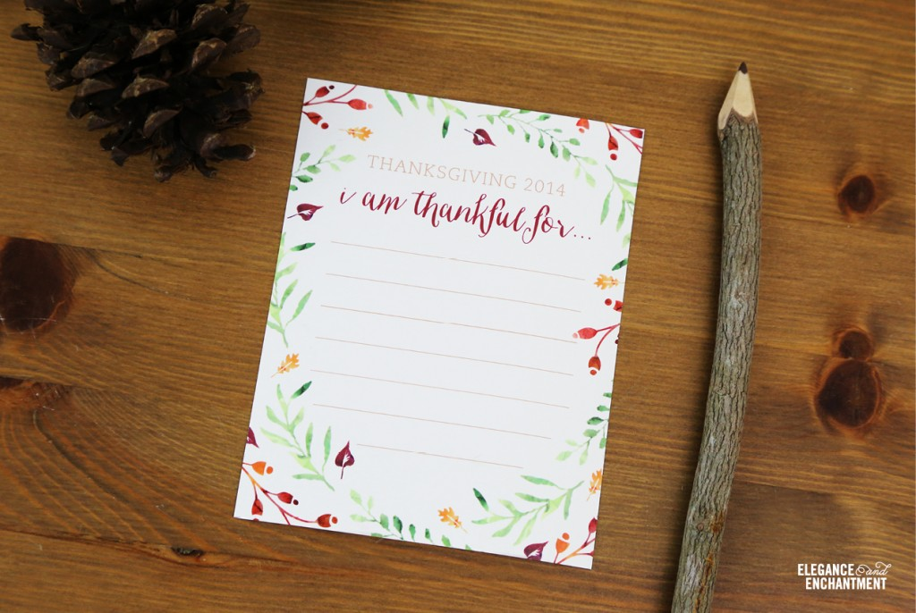 "Elegance and Enchantment Free Thanksgiving ""I am thankful for..."" card printable"