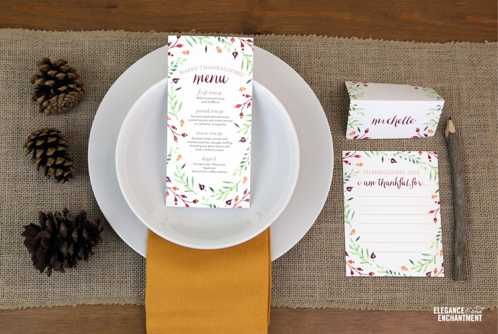 Free Printable Thanksgiving Place Cards and Tent Cards from Elegance u0026 Enchantment & Thanksgiving Place Card and Tent Card Printables