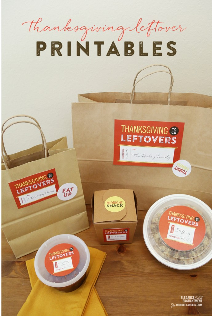 DIY Thanksgiving Leftover Free Printables from Elegance & Enchantment