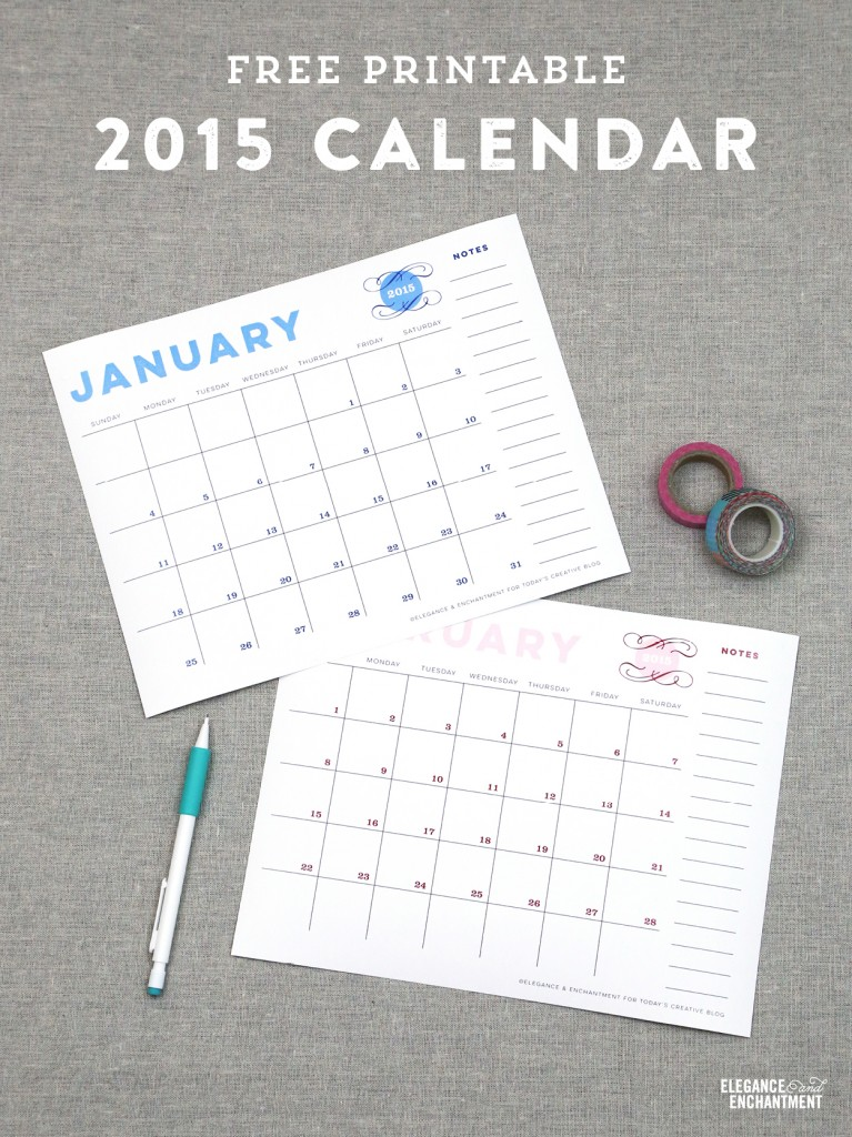 Free Printable Wall Calendar from Elegance & Enchantment for Today's Creative Blog