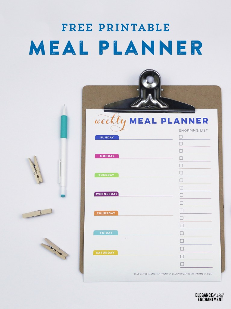 Free Printable Meal Planner from Elegance & Enchantment. A pretty way to get organized!