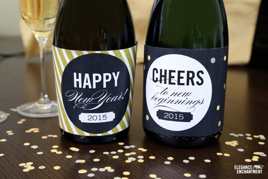Free Printable New Year's Eve Party Bottle Labels from Elegance and Enchantment