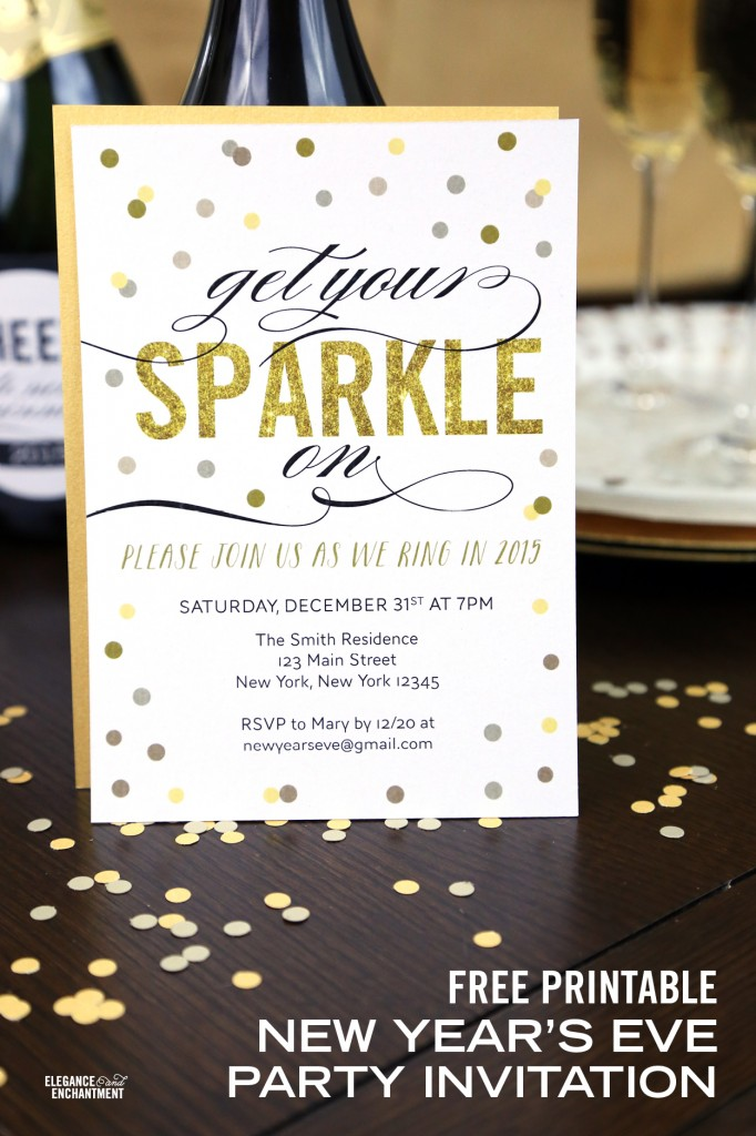 free printable new year's eve party invitation, Party invitations