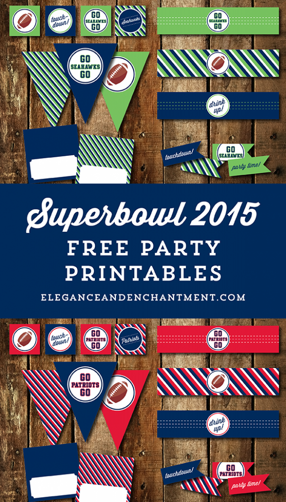 Free Superbowl Party Printables - 2015, New England Patriots vs. Seattle Seahawks // from Elegance & Enchantment