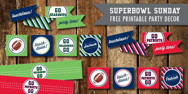 Superbowl Party Printables 2015 – Patriots vs. Seahawks