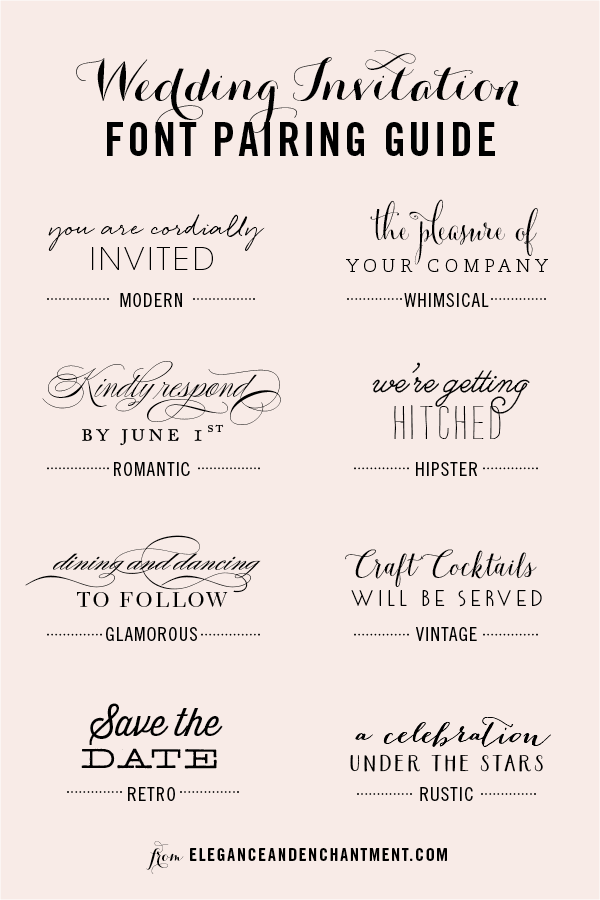 Wedding invitation font pairing guide michellehickeysign wedding invitation font and pairing guide from elegance and enchantment great combinations of script stopboris Images
