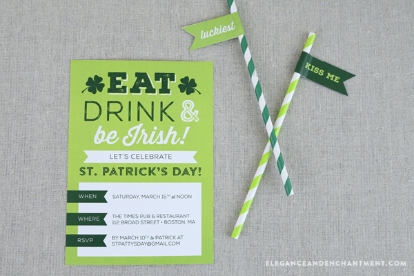Free St. Patrick's Day Party Flag printables for food, cupcakes, straws and more. // Design from Elegance & Enchantment