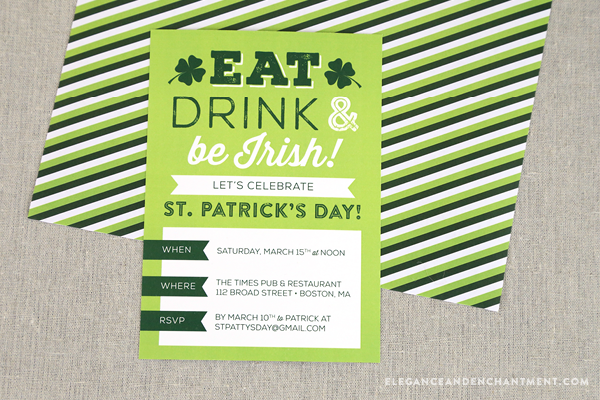 Free Customizable St. Patrick's Day Party Invitations from Elegance and Enchantment