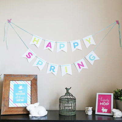 """Free printable multi-color """"Happy Spring"""" bunting banner. Perfect for Easter and Spring home decor, or a party/celebration. // Design by Elegance & Enchantment for Today's Creative Blog."""