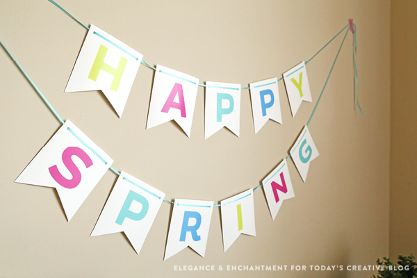 "Free printable multi-color ""Happy Spring"" bunting banner. Perfect for Easter and Spring home decor, or a party/celebration. // Design by Elegance & Enchantment for Today's Creative Blog."