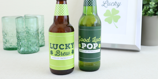Free Printable St. Patrick's Day Irish Bottle Labels from Elegance and Enchantment