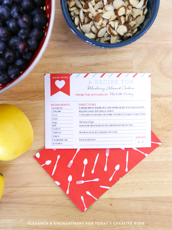 Printable Recipe Cards with optional backer // Four color combinations // Free download from Elegance and Enchantment for Today's Creative Blog