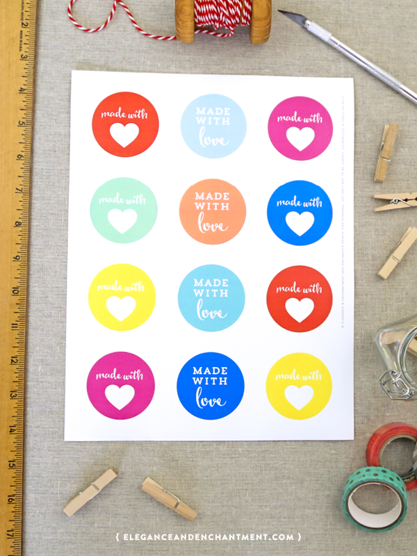 """Free Printable """"Made with love"""" stickers // Perfect for DIYers, stationery, and baking! // Designs from Elegance & Enchantment"""