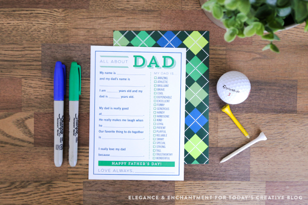 Free Printable Fill in the Blank Cards for Father's Day! Great easy gift idea from kids to their dads // Design by Elegance & Enchantment for Today's Creative Blog